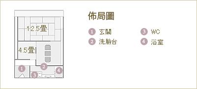 北館附別室客房 佈局圖